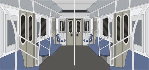 Metro train. Passangers In Subway. Public Transport.