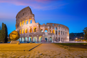View of Colosseum in Rome at twilight
