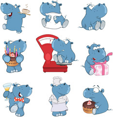 Set of Cartoon Illustration.  A Cute Hippo for you Design