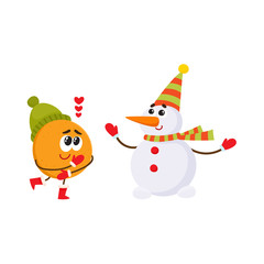 Vector flat winter fruit character - happy orange in love outdoor hat, boots and snowman in party hat, scarf, mittens. Isolated illustration white background. New year christmas poster design element