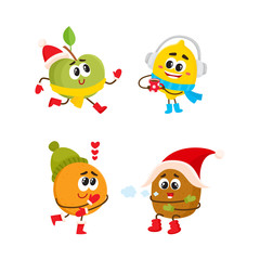 Vector flat winter fruit. Happy lemon character in warm scarf, boots, headphones holding hot beverage, tea, coffee cup, apple running, kiwi freezing in party hat, orange in love. Isolated illustration