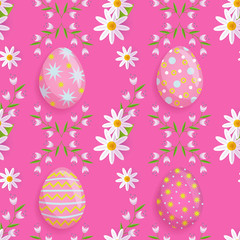 vector easter holiday seamless pattern with spring festive elements - decorated eggs, daisy flowers with leaves for your design. Flat style illustration on pink background