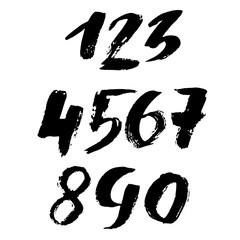 Set of grunge handdrawn numbers. Modern dry brush lettering. Vector illustration.