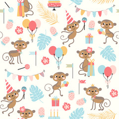 Holiday pattern with cute monkey