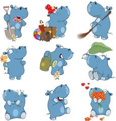 Set o Cartoon Illustration.  A Cute Hippo for you Design