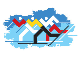 Cross-country Skiers competition. Illustration of abstract sylized Cross-country Skiers on grunge background. Vector available.