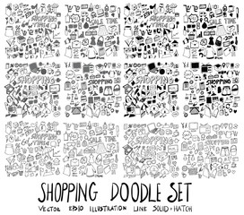 Set of Shopping illustration Hand drawn doodle Sketch line vector scribble eps10
