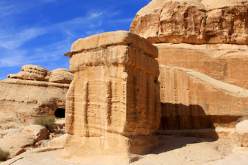Rock formations in the nabatean city of Petra in Jordan