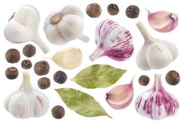 Garlic, allspice and bay leaf isolated on white background. Spices collection