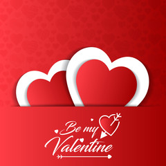 Be my valentine card with red pattern background