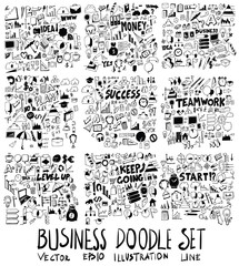 Set of Business illustration Hand drawn doodle Sketch line vector scribble eps10