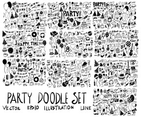 Set of Party illustration Hand drawn doodle Sketch line vector scribble eps10