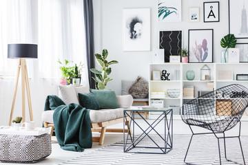 Green bright living room