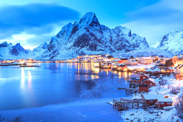 Foto op Aluminium Noord Europa Reine village on Lofoten Islands