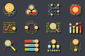 Digital Money Internet Currency Bitcoin Data Analytic Web Site Server Technology Icons on Stylish Background Flat Design Template Vector Illustration