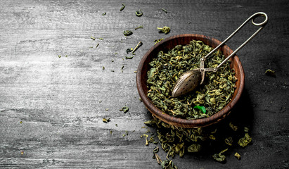 Dried green tea.