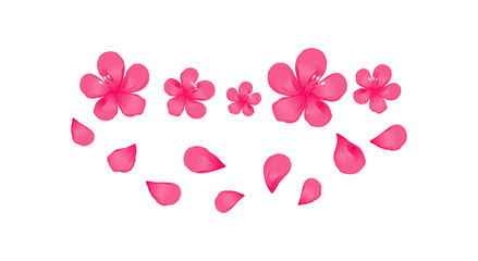 Bright Pink flowers and flying petals isolated on White background. Apple-tree flowers. Cherry blossom. Vector