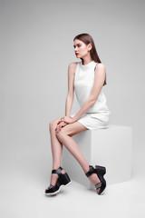 high fashion portrait of young elegant woman. .