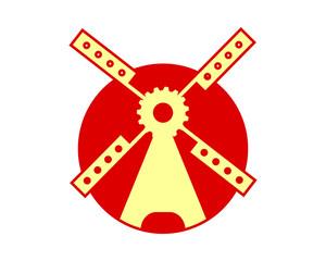 circle windmill building barn farmhouse dutch image vector icon silhouette