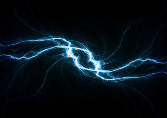 Blue lightning, plasma background