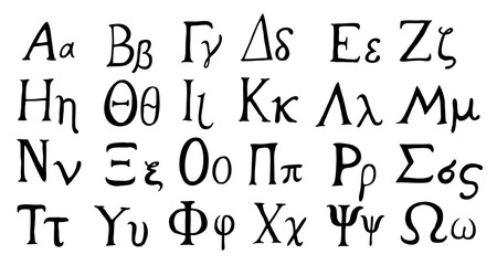 Hand drawn Greek alphabet,  black isolated on white background.
