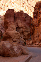 The walls of the Siq, narrow passage that leads to Petra, Jordan