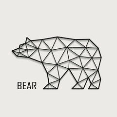 Figure of a bear from polygons of vector illustrations.