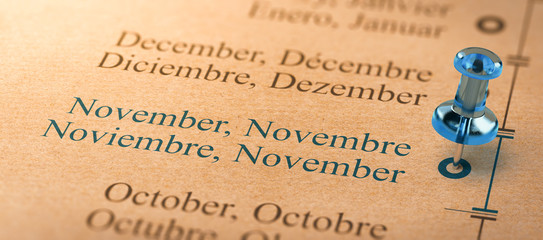 Focus on november, Months of the Year Calendar