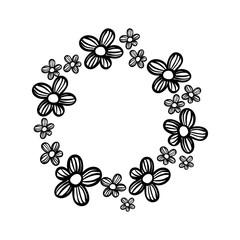 contour circle rustic flowers with petals decoration