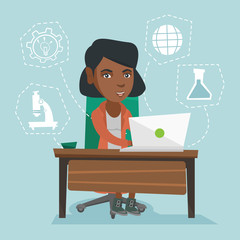 Young african-american student sitting at the table and working on a laptop connected with icons of school sciences. Concept of educational technology. Vector cartoon illustration. Square layout.