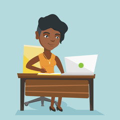 Young african student sitting at the table with a laptop and writing notes in notebook. Student using a laptop for education. Educational technology concept. Vector cartoon illustration. Square layout