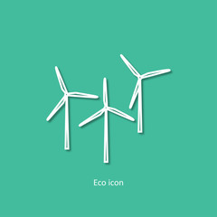 Vector simple eco related outline icon of wind generators. Alternative renewable electricity generation. Isolated 3d windmill design element in trendy paper art style. Eco concept for infographic