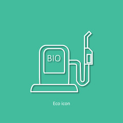 Vector simple eco related outline icon of car filling station. Alternative renewable electricity generation. Isolated bio filling station design element in trendy 3d paper art style. Eco concept.