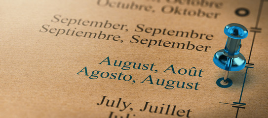Focus on August, Months of the Year Calendar
