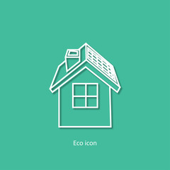 Vector simple eco related outline icon. Eco house. Isolated design element in trendy paper art 3d style. Eco concept for print or infographic. Green house concept.