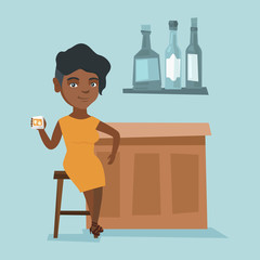 African-american woman sitting at the bar counter and celebrating with alcohol drink. Young happy woman relaxing in the bar with a glass of alcohol drink. Vector cartoon illustration. Square layout.