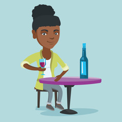 African woman sitting at the table with a glass and a bottle of wine. Young woman drinking wine in the restaurant. Woman enjoying a drink at the wine bar. Vector cartoon illustration. Square layout.