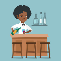 Young african-american bartender standing at the bar counter and pouring wine in a glass. Cheerful female bartender holding a bottle of wine in hands. Vector cartoon illustration. Square layout.
