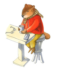 Beaver in a jacket and pants drinks coffee