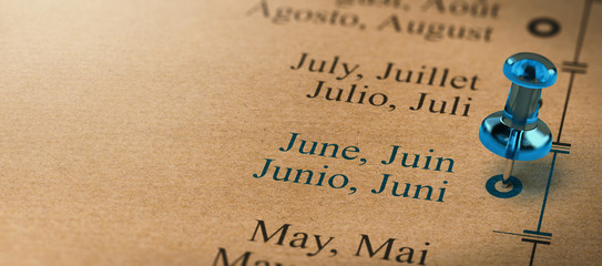 Focus on june, Months of the Year Calendar