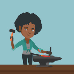 African-american blacksmith working metal with a hammer on the anvil in the forge. Young female blacksmith forging molten metal on the anvil in the smithy. Vector cartoon illustration. Square layout.
