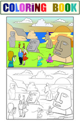 Easter Island excursions coloring, color, black and white vector