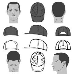Baseball, tennis, rap cap and man head