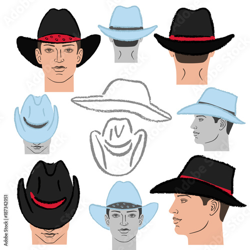 Cowboy Hat Template And Man Head