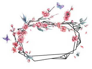Watercolor polygonal frame with blooming cherry
