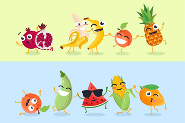 Funny fruit and vegetables - set of vector cartoon characters illustrations
