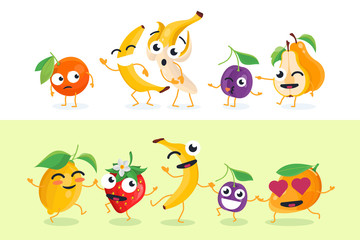 Funny fruit - set of vector isolated characters illustrations
