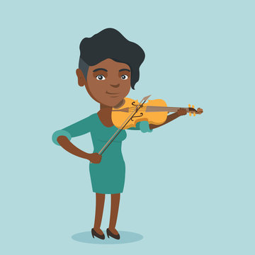 Young african-american musician playing the violin. Full length of a female smiling violinist standing with the violin and a fiddlestick in hands. Vector cartoon illustration. Square layout.