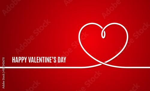 valentines day banner valentines heart line on red background