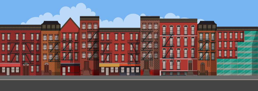 Vector Art Flat Style illustration of a New York City. Brooklyn Urban Scene.
